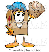 Illustration of a Cartoon Packing Box Mascot Catching a Baseball with a Glove by Toons4Biz