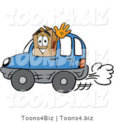Illustration of a Cartoon Packing Box Mascot Driving a Blue Car and Waving by Toons4Biz