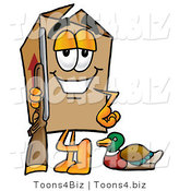 Illustration of a Cartoon Packing Box Mascot Duck Hunting, Standing with a Rifle and Duck by Toons4Biz