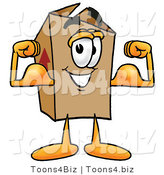 Illustration of a Cartoon Packing Box Mascot Flexing His Arm Muscles by Toons4Biz