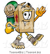 Illustration of a Cartoon Packing Box Mascot Hiking and Carrying a Backpack by Toons4Biz