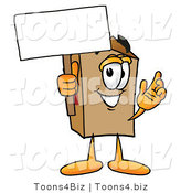 Illustration of a Cartoon Packing Box Mascot Holding a Blank Sign by Toons4Biz