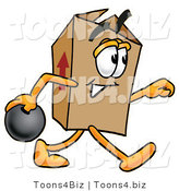 Illustration of a Cartoon Packing Box Mascot Holding a Bowling Ball by Toons4Biz