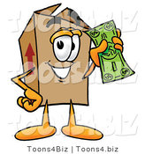 Illustration of a Cartoon Packing Box Mascot Holding a Dollar Bill by Toons4Biz