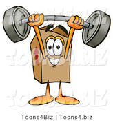 Illustration of a Cartoon Packing Box Mascot Holding a Heavy Barbell Above His Head by Toons4Biz