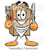 Illustration of a Cartoon Packing Box Mascot Holding a Knife and Fork by Toons4Biz
