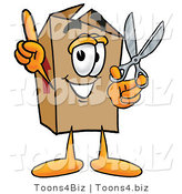Illustration of a Cartoon Packing Box Mascot Holding a Pair of Scissors by Toons4Biz