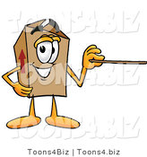 Illustration of a Cartoon Packing Box Mascot Holding a Pointer Stick by Toons4Biz