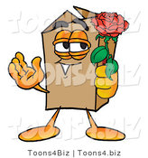 Illustration of a Cartoon Packing Box Mascot Holding a Red Rose on Valentines Day by Toons4Biz