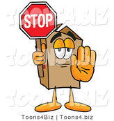 Illustration of a Cartoon Packing Box Mascot Holding a Stop Sign by Toons4Biz