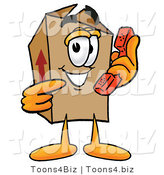 Illustration of a Cartoon Packing Box Mascot Holding a Telephone by Toons4Biz