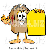 Illustration of a Cartoon Packing Box Mascot Holding a Yellow Sales Price Tag by Toons4Biz