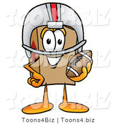 Illustration of a Cartoon Packing Box Mascot in a Helmet, Holding a Football by Toons4Biz