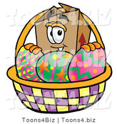Illustration of a Cartoon Packing Box Mascot in an Easter Basket Full of Decorated Easter Eggs by Toons4Biz