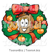 Illustration of a Cartoon Packing Box Mascot in the Center of a Christmas Wreath by Toons4Biz