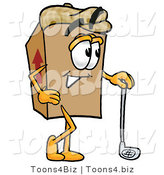 Illustration of a Cartoon Packing Box Mascot Leaning on a Golf Club While Golfing by Toons4Biz