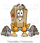 Illustration of a Cartoon Packing Box Mascot Lifting a Heavy Barbell by Toons4Biz