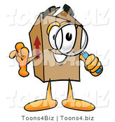 Illustration of a Cartoon Packing Box Mascot Looking Through a Magnifying Glass by Toons4Biz