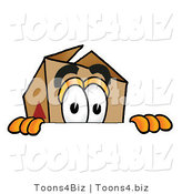 Illustration of a Cartoon Packing Box Mascot Peeking over a Surface by Toons4Biz