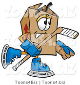 Illustration of a Cartoon Packing Box Mascot Playing Ice Hockey by Toons4Biz