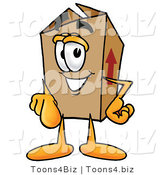 Illustration of a Cartoon Packing Box Mascot Pointing at the Viewer by Toons4Biz