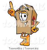 Illustration of a Cartoon Packing Box Mascot Pointing Upwards by Toons4Biz