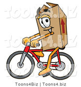 Illustration of a Cartoon Packing Box Mascot Riding a Bicycle by Toons4Biz