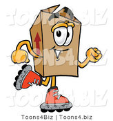 Illustration of a Cartoon Packing Box Mascot Roller Blading on Inline Skates by Toons4Biz