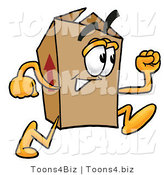 Illustration of a Cartoon Packing Box Mascot Running by Toons4Biz