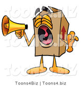 Illustration of a Cartoon Packing Box Mascot Screaming into a Megaphone by Toons4Biz