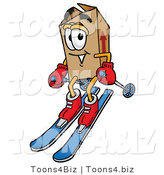 Illustration of a Cartoon Packing Box Mascot Skiing Downhill by Toons4Biz