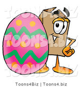 Illustration of a Cartoon Packing Box Mascot Standing Beside an Easter Egg by Toons4Biz