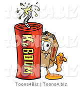 Illustration of a Cartoon Packing Box Mascot Standing with a Lit Stick of Dynamite by Toons4Biz