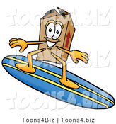 Illustration of a Cartoon Packing Box Mascot Surfing on a Blue and Yellow Surfboard by Toons4Biz