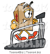 Illustration of a Cartoon Packing Box Mascot Walking on a Treadmill in a Fitness Gym by Toons4Biz