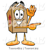 Illustration of a Cartoon Packing Box Mascot Waving and Pointing by Toons4Biz