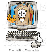 Illustration of a Cartoon Packing Box Mascot Waving from Inside a Computer Screen by Toons4Biz