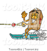 Illustration of a Cartoon Packing Box Mascot Waving While Water Skiing by Toons4Biz