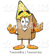 Illustration of a Cartoon Packing Box Mascot Wearing a Birthday Party Hat by Toons4Biz