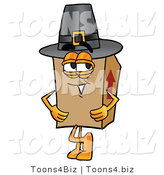 Illustration of a Cartoon Packing Box Mascot Wearing a Pilgrim Hat on Thanksgiving by Toons4Biz