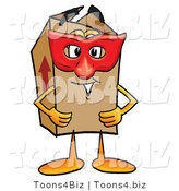 Illustration of a Cartoon Packing Box Mascot Wearing a Red Mask over His Face by Toons4Biz