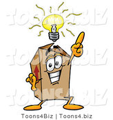 Illustration of a Cartoon Packing Box Mascot with a Bright Idea by Toons4Biz