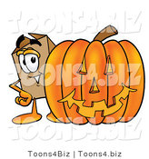 Illustration of a Cartoon Packing Box Mascot with a Carved Halloween Pumpkin by Toons4Biz