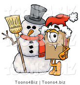Illustration of a Cartoon Packing Box Mascot with a Snowman on Christmas by Toons4Biz