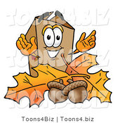 Illustration of a Cartoon Packing Box Mascot with Autumn Leaves and Acorns in the Fall by Toons4Biz