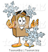 Illustration of a Cartoon Packing Box Mascot with Three Snowflakes in Winter by Toons4Biz