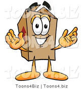 Illustration of a Cartoon Packing Box Mascot with Welcoming Open Arms by Toons4Biz