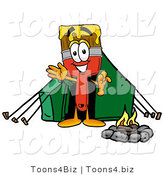 Illustration of a Cartoon Paint Brush Mascot Camping with a Tent and Fire by Toons4Biz