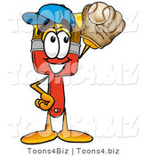 Illustration of a Cartoon Paint Brush Mascot Catching a Baseball with a Glove by Toons4Biz