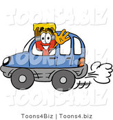 Illustration of a Cartoon Paint Brush Mascot Driving a Blue Car and Waving by Toons4Biz